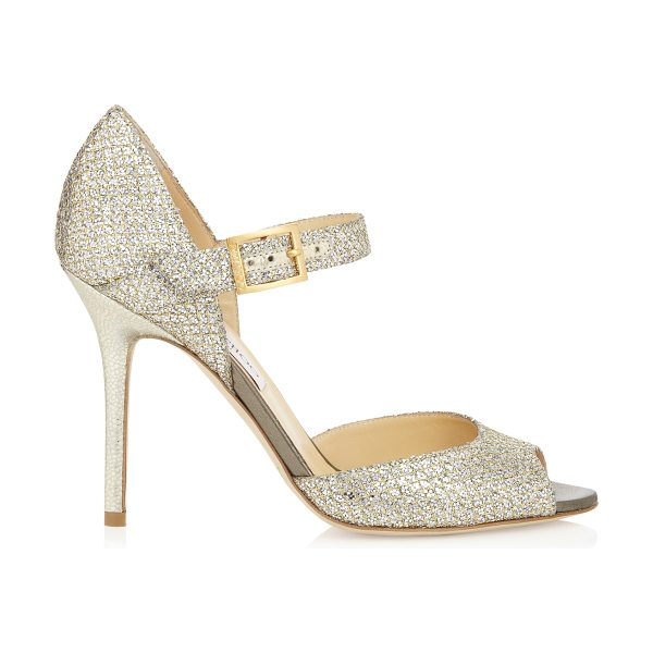 JIMMY CHOO Lace champagne glitter fabric peep toe pumps - Add some sparkle to favourite cocktail dresses with...