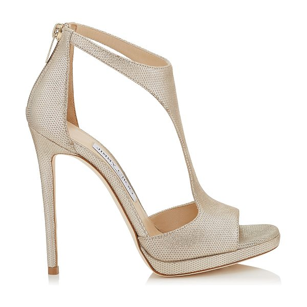 Jimmy Choo LANA 120 Champagne Metallic Mini Print Leather T-Bar Sandals in champagne - This simple and sexy T-Bar sandal provides a hint of...