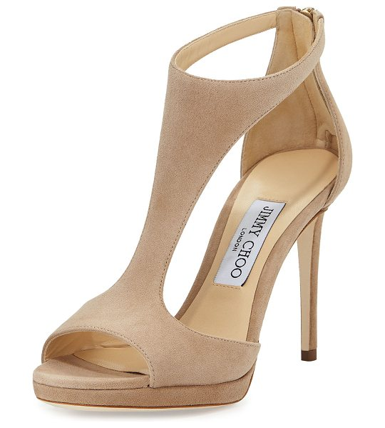 "Jimmy Choo Lana Suede T-Strap 100mm Sandals in light mocha - Jimmy Choo suede sandal. 4"" covered heel; 0.5"" platform;..."