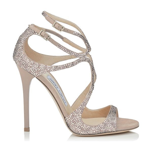 JIMMY CHOO LANCE Ballet Pink Suede Sandals with Hotfix Crystals - The Lance sandals in ballet pink suede with crystal...
