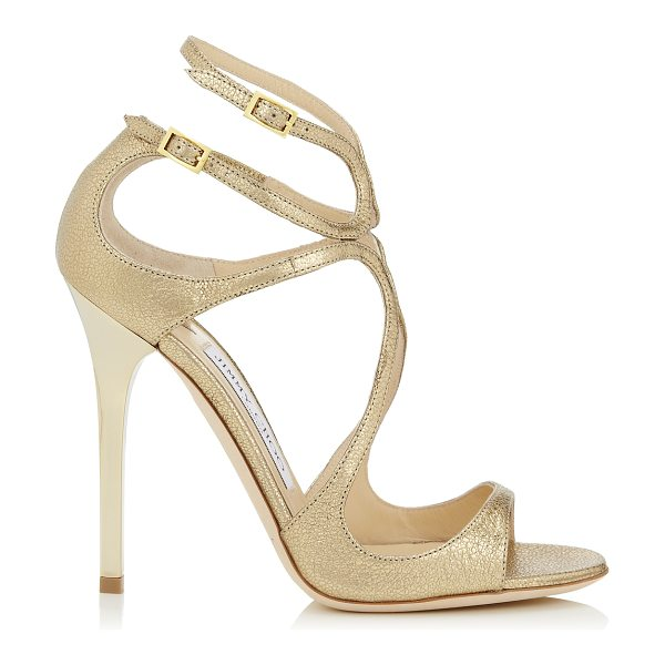 Jimmy Choo Lance gold glitter leather strappy sandals in gold