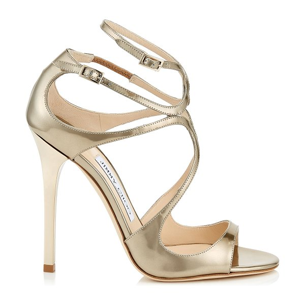 Jimmy Choo LANCE Gold Liquid Mirror Leather Sandals in gold
