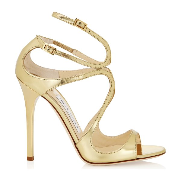 JIMMY CHOO LANCE Gold Mirror Leather Sandals - From red carpets to dance floors, these strappy sandals...