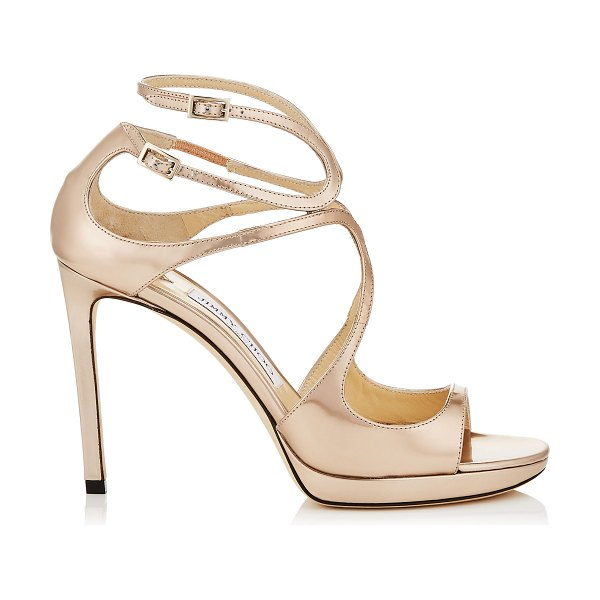 54a246978e8 Jimmy Choo LANCE PF 100 Ballet Pink Liquid Mirror Leather Strappy Sandals  in ballet pink