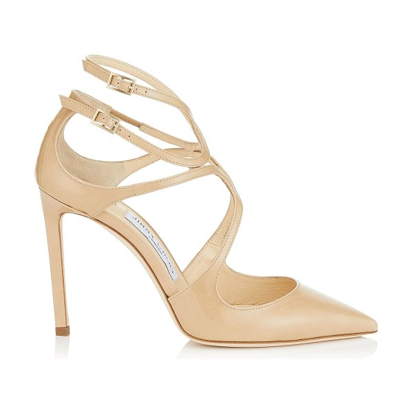 Jimmy Choo LANCER 100 Nude Patent Leather Pointy Toe Pumps in nude - A sexy and sophisticated pointy toe pump, the Lancer in...