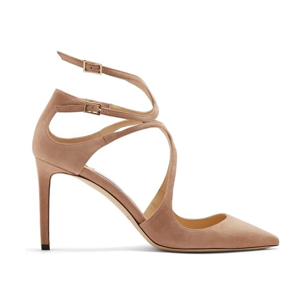 Jimmy Choo Lancer 85 suede pumps in nude - Jimmy Choo's nude-beige Lancer pumps are defined by...