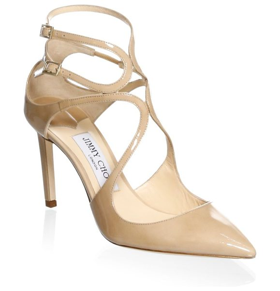 JIMMY CHOO lancer ankle-strap patent leather pumps in nude - Classic patent leather ankle strap sandals in crisscross...