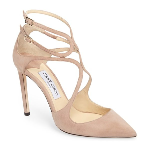 Jimmy Choo lancer strappy pump in ballet pink - Slender straps arc and loop into a curvy deconstructed...