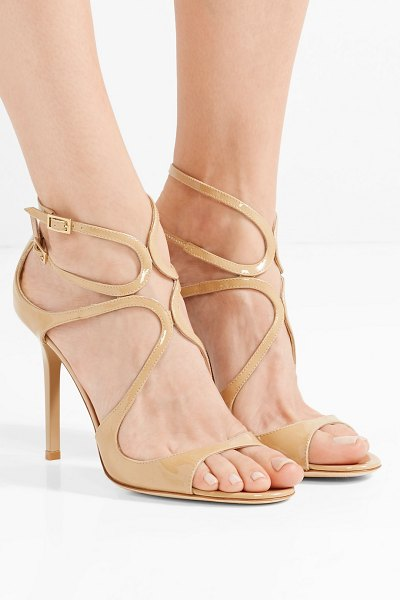 Jimmy Choo lang 100 patent-leather sandals in sand