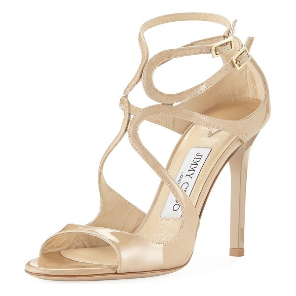 "Jimmy Choo Lang 100mm Patent Strappy Sandals in nude - Patent leather upper. 4"" tonal lacquered heel...."