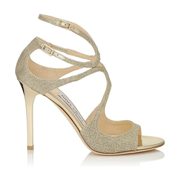 Jimmy Choo LANG Gold Lamé Glitter Fabric Sandals in gold