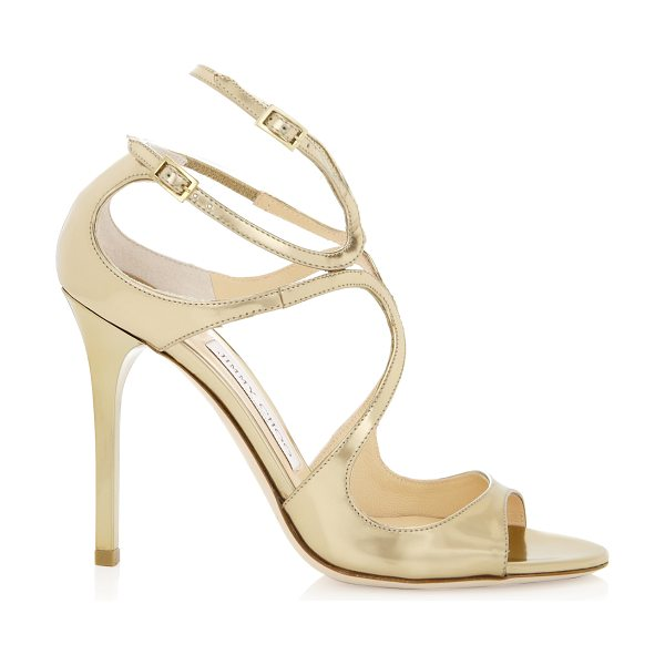 Jimmy Choo LANG Gold Mirror Leather Sandals in gold