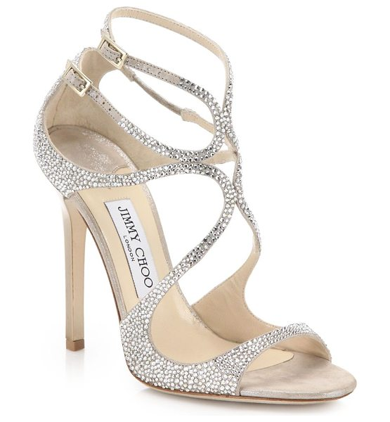 JIMMY CHOO lang memento ankle-wrap suede sandals - EXCLUSIVELY AT SAKS FIFTH AVENUE. Alluring loop-strapped...