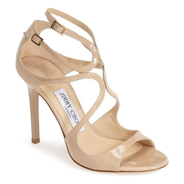Jimmy Choo 'lang' sandal in nude patent - Liquid-shine patent leather amplifies the scene-stealing...
