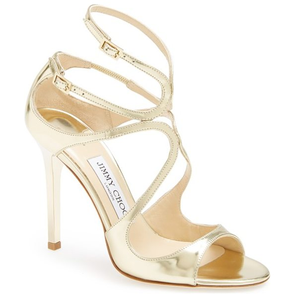 Jimmy Choo lang sandal in nude - A luminous metallic finish amplifies the scene-stealing...