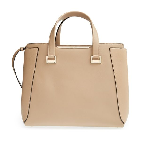Jimmy Choo Large alfie leather satchel in nude - A satchel for all seasons, this spacious, structured bag...