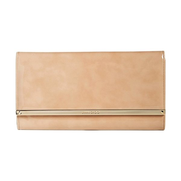 Jimmy Choo 'large maia' patent leather clutch in nude - Cast in high-gloss patent leather in a go-with-anything...