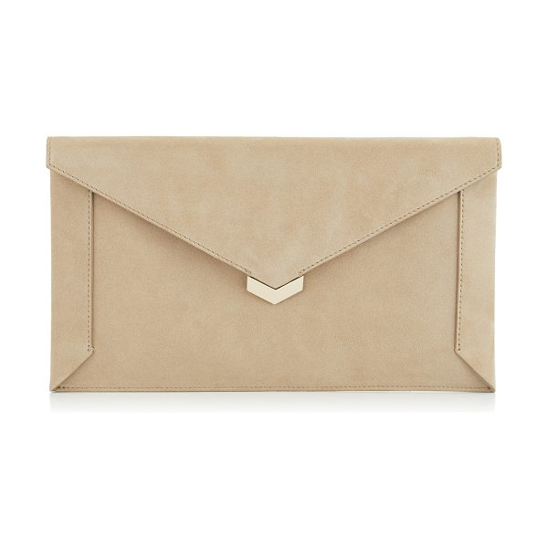 Jimmy Choo LAUREN Chai Suede Pouch in chai - The Lauren pouch in chai suede is a chic and modern...