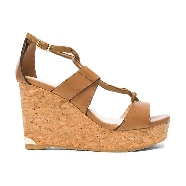 Jimmy Choo Leather Nelson Wedges in brown - Leather upper with rubber sole.  Made in Spain.  Approx...