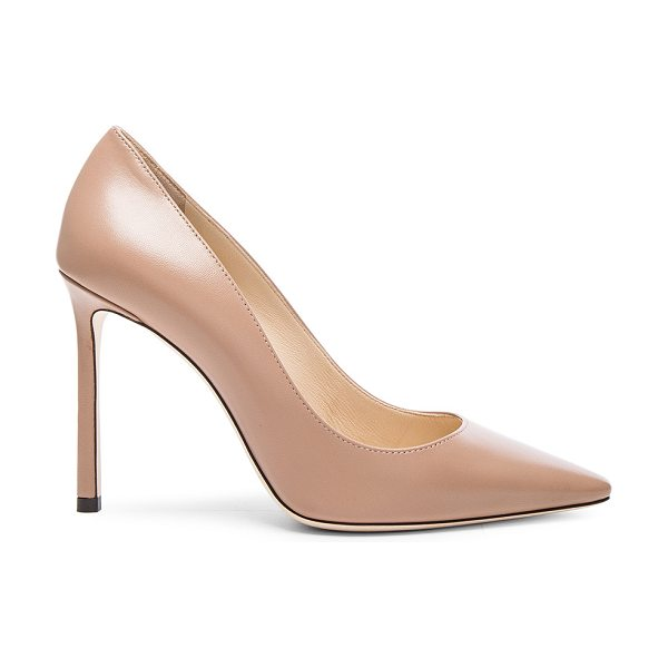 JIMMY CHOO Romy 100 Leather Pumps in neutrals - Leather upper and sole.  Made in Italy.  Approx 100mm/ 4...