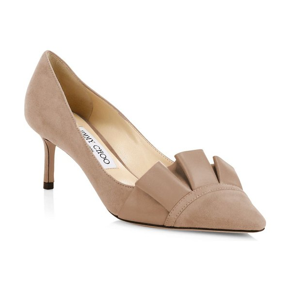 Jimmy Choo leena ruffled point toe pumps in balletpink - Lovely ruffles adorn these sleek suede pumps in a...