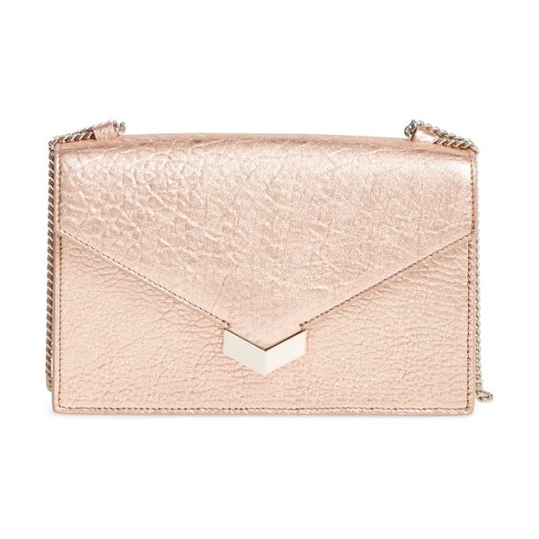 Jimmy Choo leila grainy lambskin leather crossbody bag in rose gold - Polished studs add rocker-chic attitude to a crossbody...