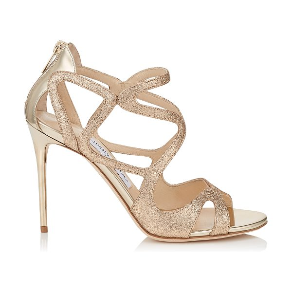 Jimmy Choo Leslie 100 sand fine glitter fabric and champagne mirror leather strappy sandals in sand/champagne