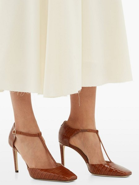 Jimmy Choo lexica 85 crocodile embossed leather pumps in tan