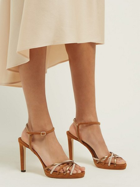 Jimmy Choo lilah 100 crossover strap suede sandals in tan gold