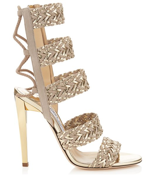 Jimmy Choo Lima 110 marble suede and light champagne mirror leather caged sandals in marble/light champagne