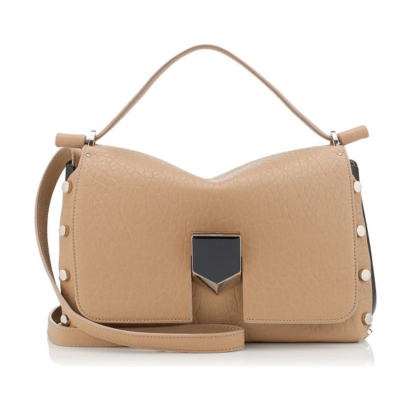 Jimmy Choo Lockett/m nude grainy leather and black nappa handbag in nude/black - Made to be worn on the shoulder, using the longer strap,...