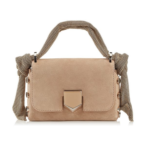 Jimmy Choo LOCKETT MINI Nude Suede Bag with Mesh Strap in nude - A new addition to this season, the Lockett Mini in nude...