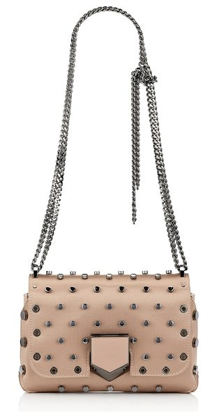 JIMMY CHOO LOCKETT PETITE Ballet Pink Satin Shoulder Bag with Polka Dot Studs - The sexy and feminine Lockett Petite shoulder bag, in...