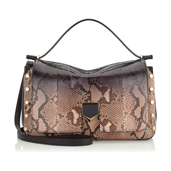 JIMMY CHOO Lockett/m black and ballet pink degradé python handbag - Made to be worn on the shoulder, using the longer strap,...