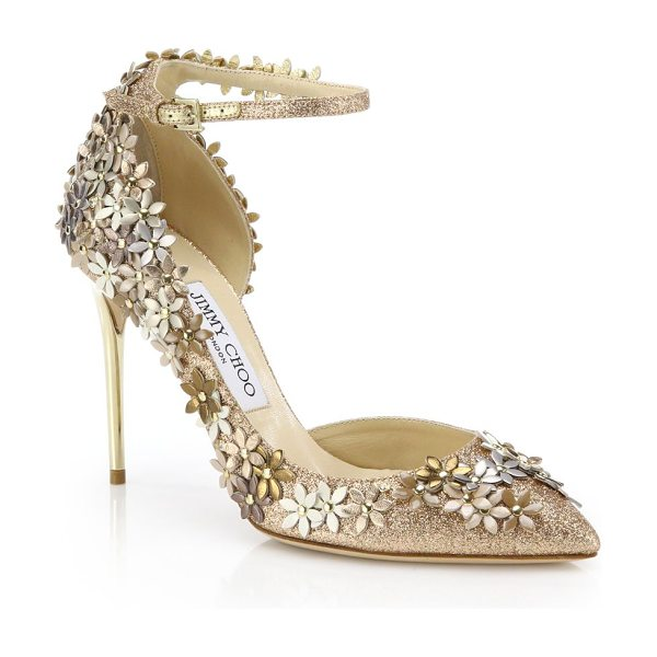 Jimmy Choo Lorelai 100 floral glittered leather ankle-strap pumps in gold - Dazzling glittered pumps with cascading floral...