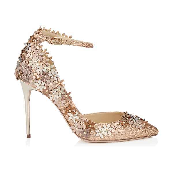 Jimmy Choo Lorelai 100 nude fine glitter fabric pumps with champagne flower mix embellishment in nude/champagne mix - The silhouette of this beautiful shoe provides an...