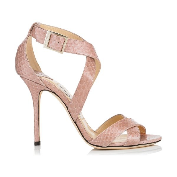 Jimmy Choo Lottie blush elaphe sandals in blush - Sparkly sandals are a Jimmy Choo signature and this pair...