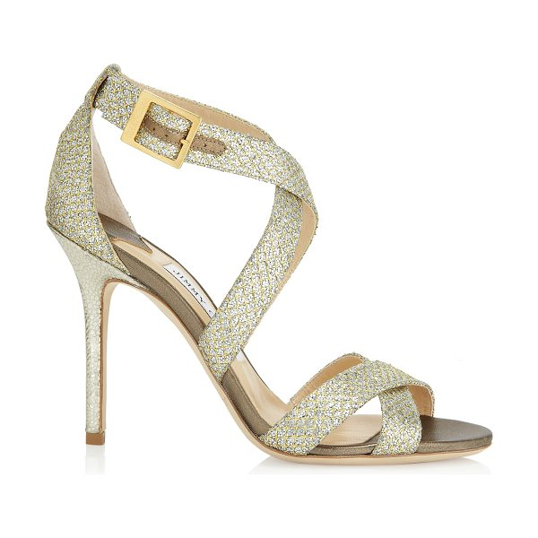 Jimmy Choo LOTTIE Champagne Glitter Fabric Sandals in champagne - Sparkly sandals are a Jimmy Choo signature and this pair...