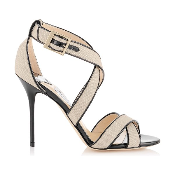 Jimmy Choo Lottie natural canvas and black patent sandals in natural/black - A simplified cross-over strappy sandal that flatters the...