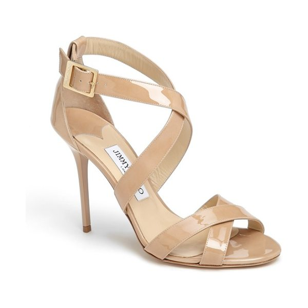 Jimmy Choo lottie sandal in nude - Crisscrossed straps enhance the effortless elegance of a...