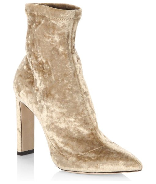 Jimmy Choo louella 85 crushed stretch velvet point toe booties in blonde - EXCLUSIVELY AT SAKS FIFTH AVENUE. Crushed velvet point...