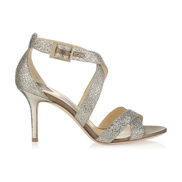 Jimmy Choo LOUISE Champagne Glitter Fabric Sandals in champagne - Sparkly sandals are a Jimmy Choo signature and this pair...