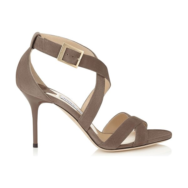 Jimmy Choo Louise mink suede sandals in mink - A simplified cross-over strappy sandal that flatters the...