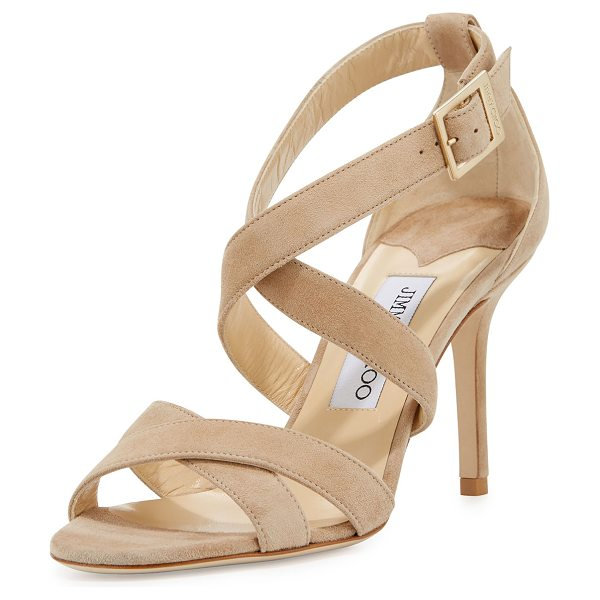 "Jimmy Choo Louise Suede Crisscross 85mm Sandal in nude - Jimmy Choo suede sandal. 3.3"" covered heel. Open toe...."