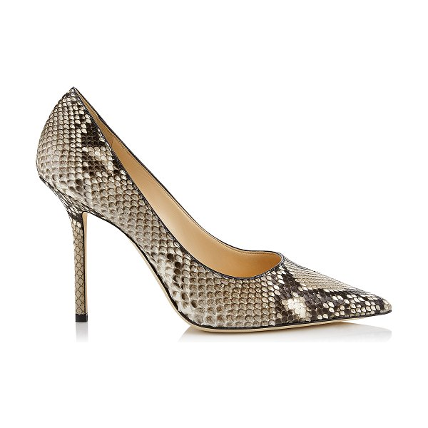 Jimmy Choo LOVE 100 Natural Python Pointy Toe Pump in natural