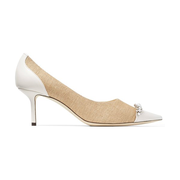 Jimmy Choo LOVE 65 Natural and Latte Raffia and Nappa Leather Pumps with Crystals and Pearls in natural/crystal/latte