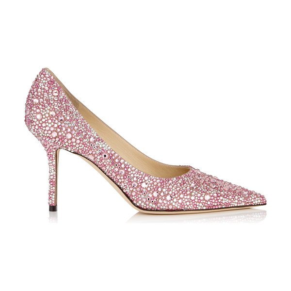 Jimmy Choo LOVE 85 Rose Mix Multi Crystal Hotfix Pointy Toe Pump in rose mix - Introducing our new pointy toe pumps, Love in rose mix...