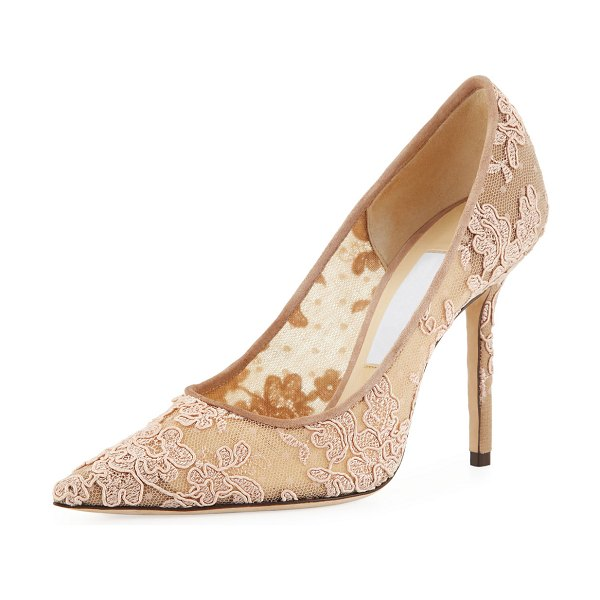 Jimmy Choo Love Lace Pointed Pumps in ballet pink