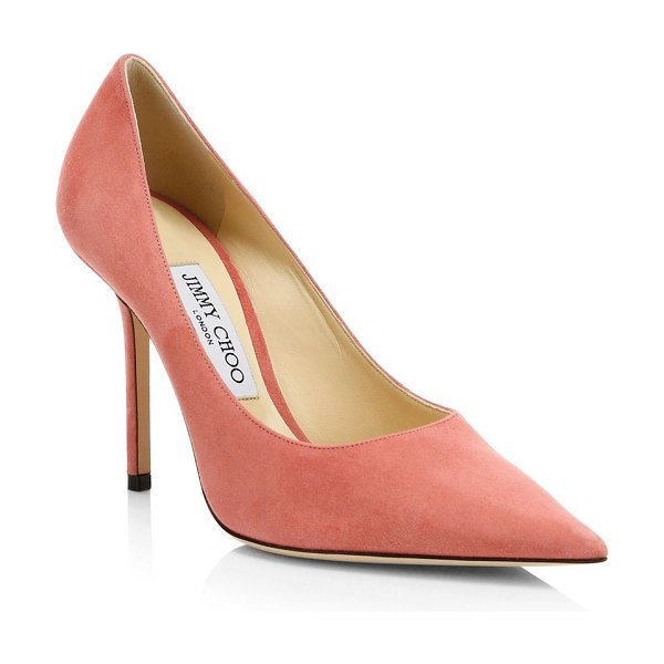 Jimmy Choo love point toe suede pumps in rosewood - The classic point toe pump is outfitted in suede....