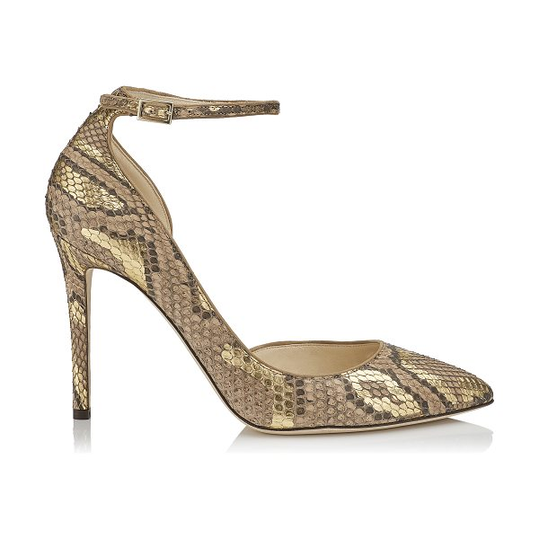 Jimmy Choo LUCY 100 Hazel and Gold Pointy Toe Metalised Python Pumps in hazel/gold - From its supple hazel and gold metalised python exterior...